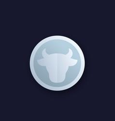 cow head cattle farm round logo vector image