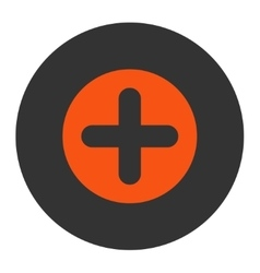 Create flat orange and gray colors round button vector