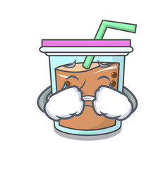 Crying bubble tea mascot cartoon vector