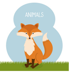Cute fox in the field landscape character vector