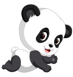 cute funny baby panda vector image