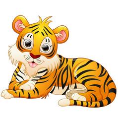 Cute tiger cartoon lay down vector