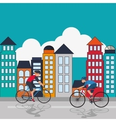 cyclist with city background image vector image
