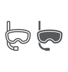diving mask line and glyph icon diving vector image