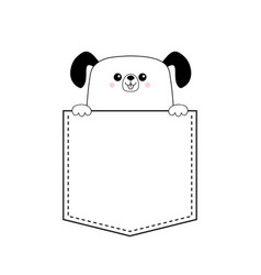 Dog happy face head icon in the pocket holding vector