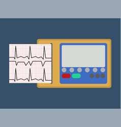 ecg medical object flat icon vector image