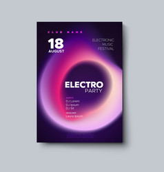 electro party flyer fluid color cover vector image