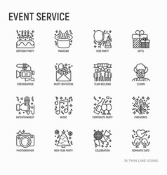 event services thin line icons set vector image