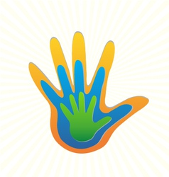 Family hands protection logo vector image
