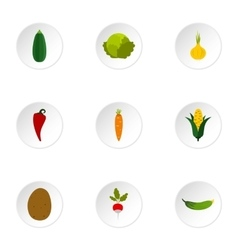 Farm vegetables icons set flat style vector image