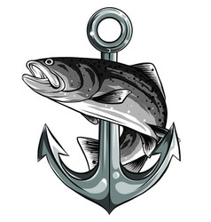 Fish twisted to an anchor a boat vector