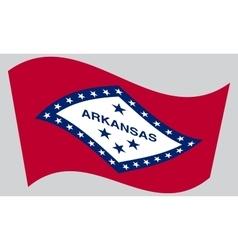 Flag of Arkansas waving on gray background vector