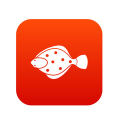 Flounder fish icon digital red vector