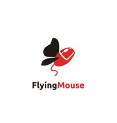 flying mouse computer internet logo design vector image