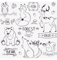 Forest animals silhouette vector