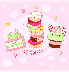 funny background with cute sweet foods in kawaii vector image