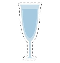 glass cup wine drink cut line vector image