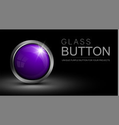 glass purple button vector image