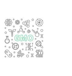 Gmo concept minimal outline square banner vector