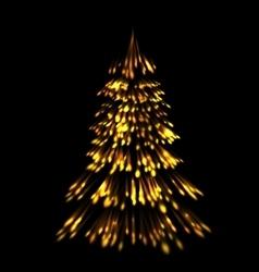 Golden fir tree christmas trace fireworks make vector image