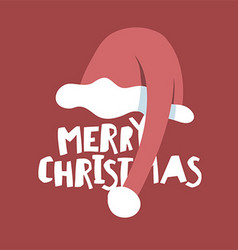 Greeting postcard with Santas hat Merry Christmas vector