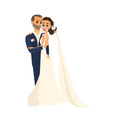 Groom and pride hug each other isolated vector