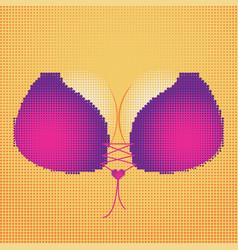 Halftone bust in pink bra vector