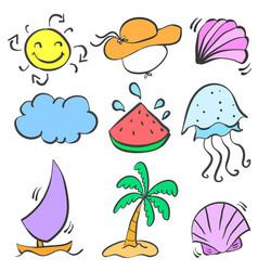 Happy holiday summer element doodles vector