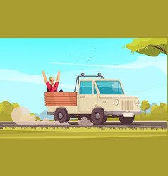 hitchhiking cartoon background vector image