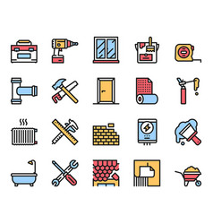 Home renovation and repair color linear icons set vector