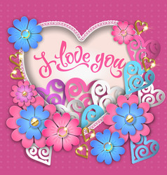 i love you composition with hearts vector image