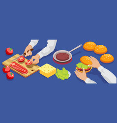 Isometric hamburger making concept vector