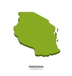 Isometric map of Tanzania detailed vector