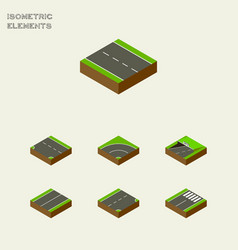 Isometric road set of subway downward footer and vector