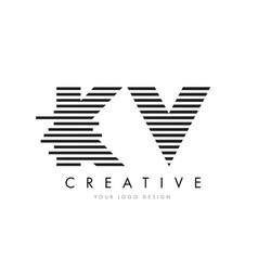 kv k v zebra letter logo design with black and vector image