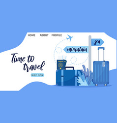 landing page template for travel business agency vector image