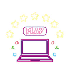 laptop play button neon video game vector image