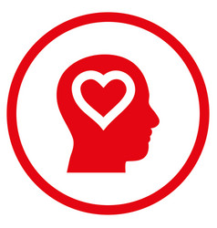 Love in head rounded icon vector