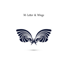 m letter sign and angel wings monogram wing logo vector image