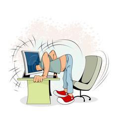 man at a computer vector image