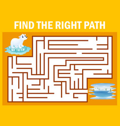 Maze game find polar bear walk away to pole vector