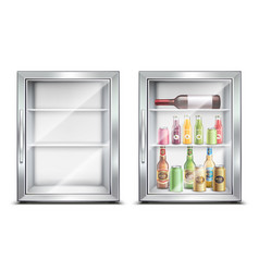 mini bar fridge set vector image