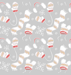 new year pattern mittens hats scarf snowflakes vector image