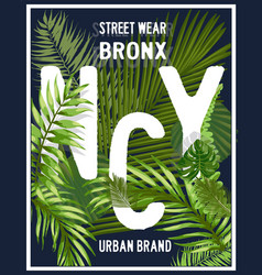 New york brooklyn typography with floral t shirt vector
