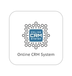 Online CRM System Icon Flat Design vector image
