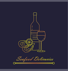 oysters with lemon and wine vector image