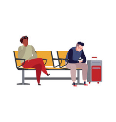 People in airport arrival waiting room vector