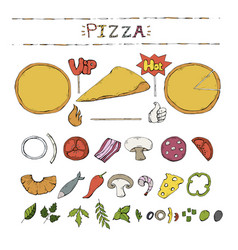 pizza setcollection over whitepizza vector image