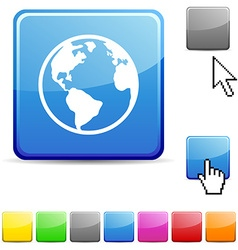 Planet glossy button vector image