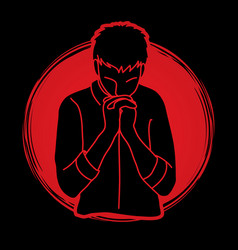 Prayer christian praying thank you god vector